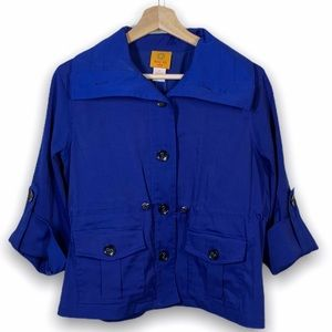 Ruby Rd blue button down jacket- size 12P
